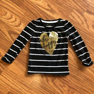 Black And White Striped Long Sleeve Shirt w/ Gold